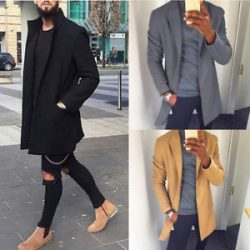 Winter Trench Coat Outwear Overcoat Long Sleeve Jacket