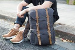 "EverVanz Outdoor Canvas Leather Backpack, Fits 15 "" Laptop .. loving it"