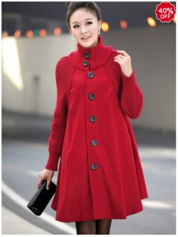 High Neck Patchwork Long Sleeve Coat