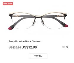 Tracy Brow-line Black Glasses