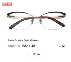 Maria Brow-line Black Glasses