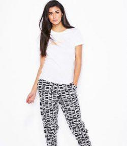 Nike Women's Club Printed Jogger Cuffed Pants Black White
