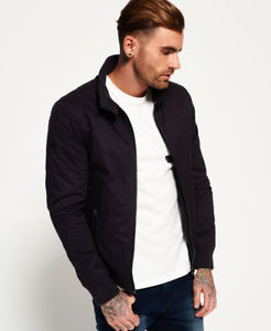 Mens Superdry Winter Longhorn Harrington Jacket Navy
