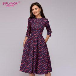 S.Flavor A-Line O-neck Dress