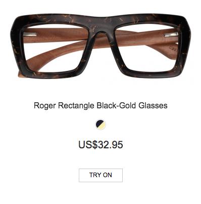 148f4a7b06b Amazing Roger Rectangle Black-Gold Glasses From Zeelool!