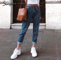 Casual stripe blue jeans women pants, zipper pocket denim pants, autumn trousers, high waist pants