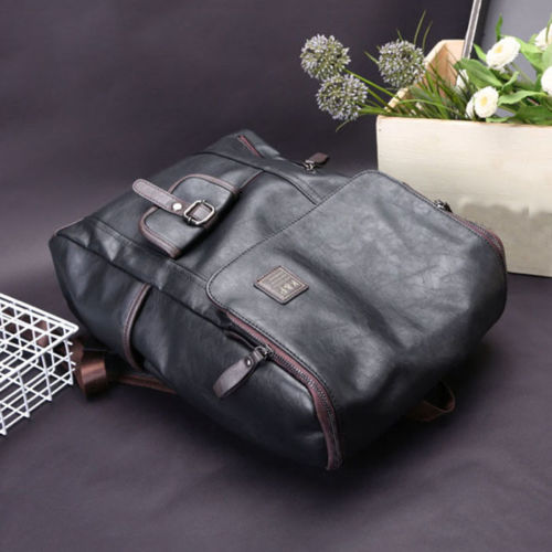 Men's Leather Laptop Backpack Shoulder Bag