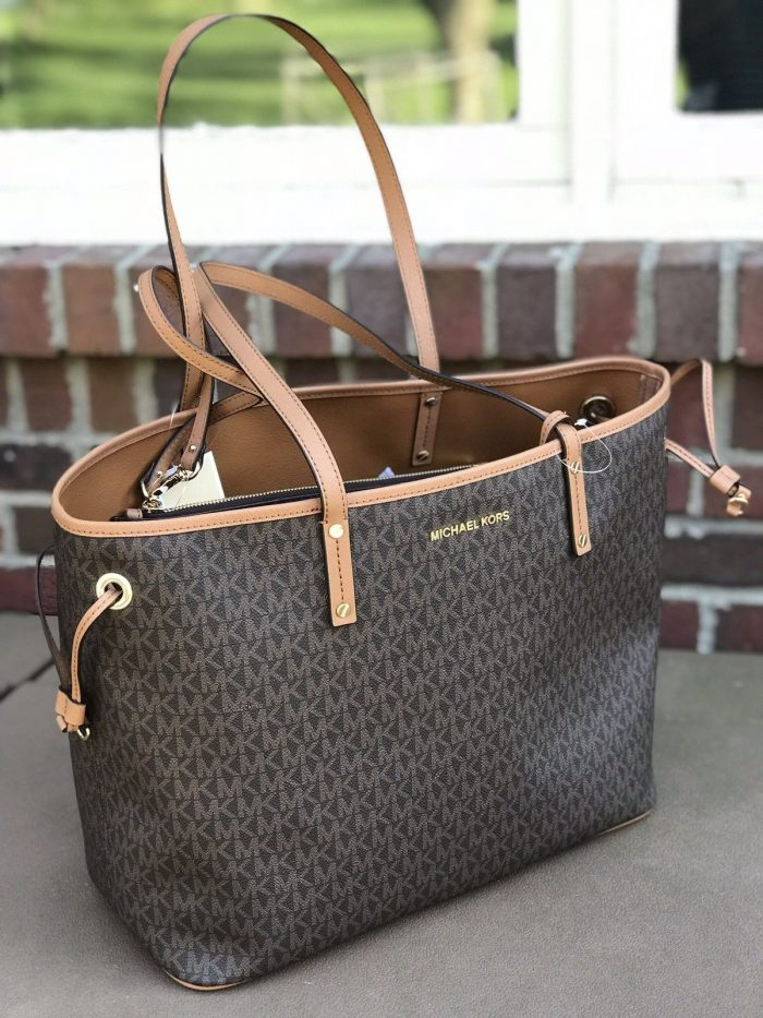 New Michael Kors Jet Set Travel Large Tote Brown MK Signature Light Weight Bag