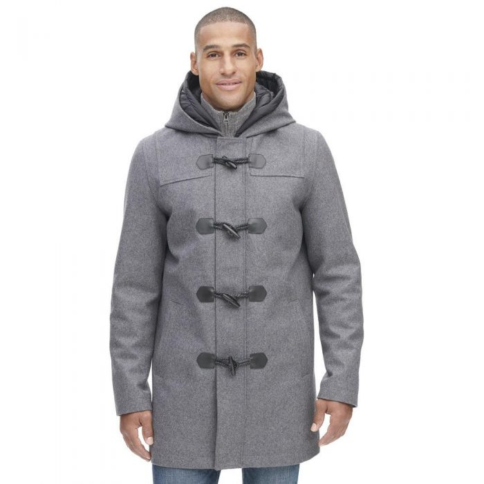 Web Buster Designer Brand Toggle Wool Coat W/ Removable Double Hood