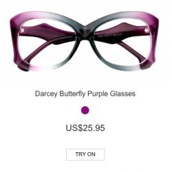 Darcey Butterfly Purple Glasses