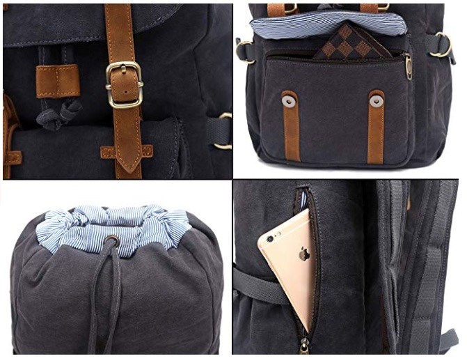 """EverVanz Outdoor Canvas Leather Backpack, Fits 15 """" Laptop .. loving it"""