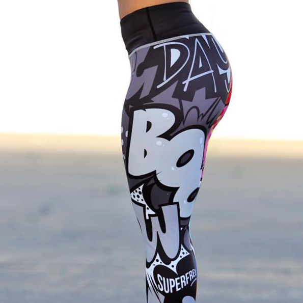 Digital printing leggings, fitness activewear, workout leggings available in 5 colors and 4 sizes
