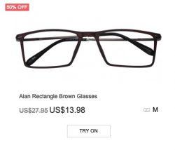 Alan Rectangle Brown Glasses