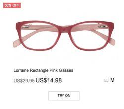 Lorraine Rectangle Ping Glasses