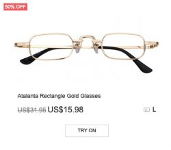 Atalanta Rectangle Gold Glasses