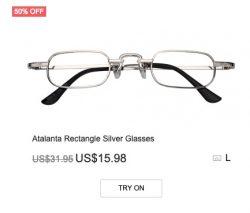 Atalanta Rectangle Silver Glasses