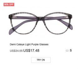 Demi Cateye Light Purple Glasses