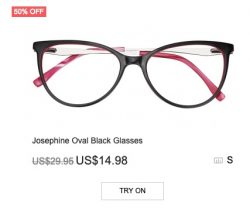 Josephine Oval Black Glasses