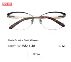 Maria Brow-line Black Glasses