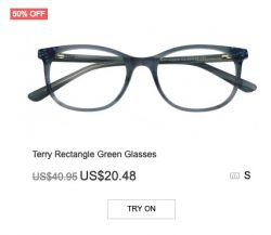 Terry Rectangle Green Glasses